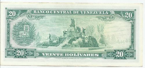 billete 20 bs bolívares. enero 29 año 1974. serial b-7