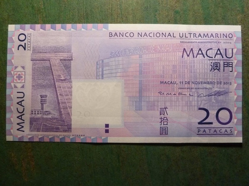 billete 20 patacas macau / macao 2013  - vp