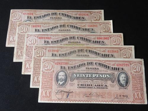 billete 20 pesos el estado de chihuahua 1915