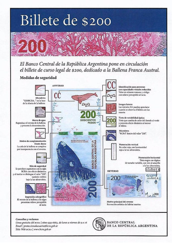 billete $200 ballena austral serie a n.bajo s/circular paler