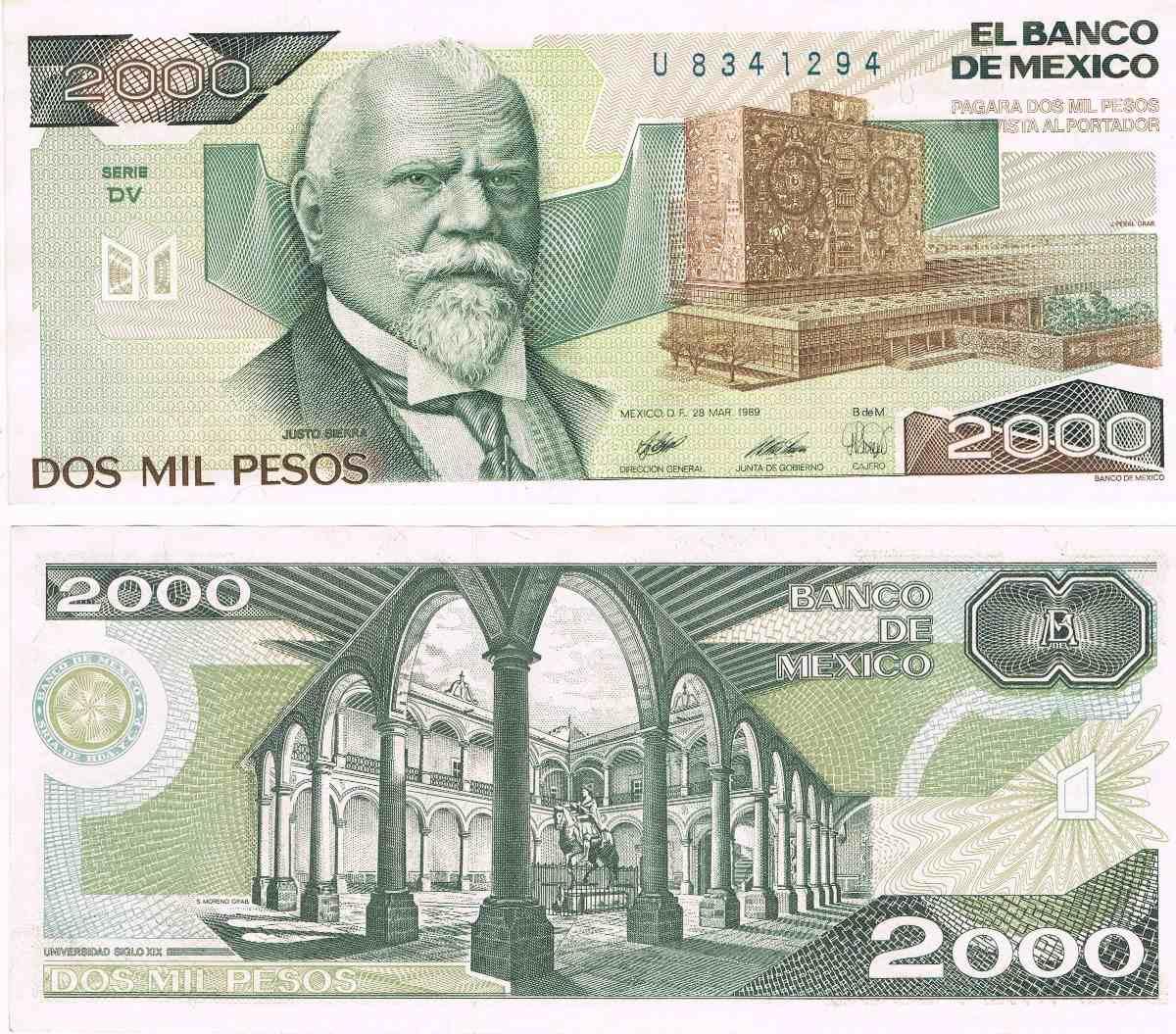 Resultado de imagen para billete de 2000 pesos mexicanos