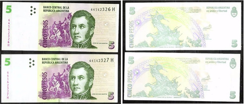 billete $5 dos correlativos  a elegir