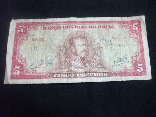 billete 5 escudos (manuel bulnes)  chile