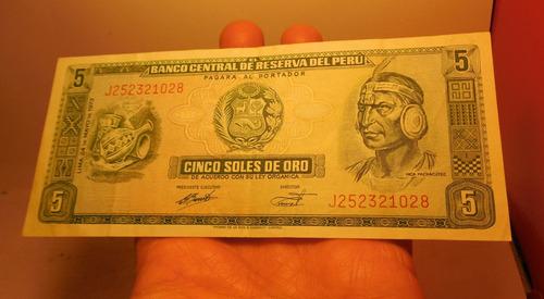 billete 5 soles, perú, 1973.