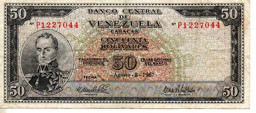 billete 50 bolivares 1967 antiguo 10$