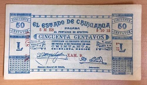 billete  50 ce el estado  chihuahua 1915 excelente envio grr