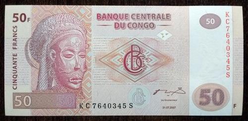 billete 50 francos congo 2007 unc sin circular