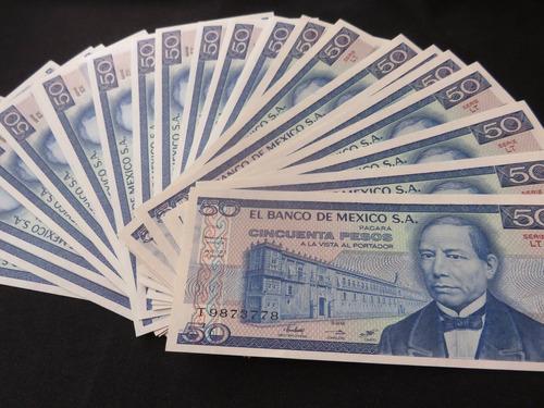 billete 50 pesos juarez y urna zapoteca nuevos x pieza