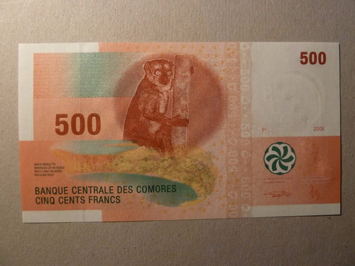 billete 500 francos 2006 comores comoras  - vp