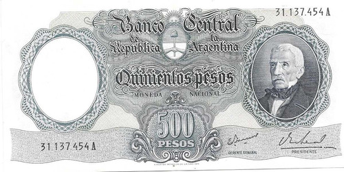 billete 500 pesos moneda nacional bottero 2122 excelente++