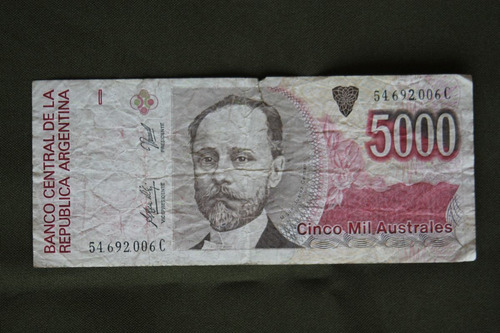billete 5000 australes republica argentina