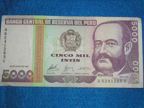 billete 5000 cinco mil intis banco central reserva peru