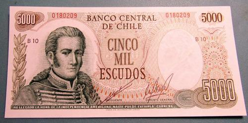 billete 5000 escudos unc (eº5000 - josé miguel carrera)