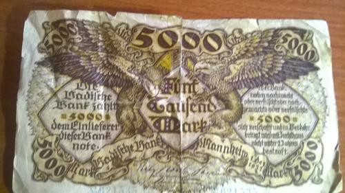billete 5000 marco aleman antiguo de 1922
