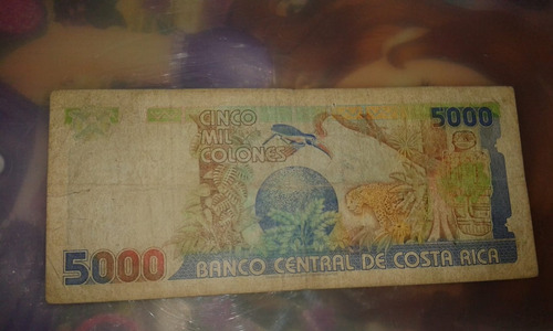 billete 5000 mil colones serie a costa rica.