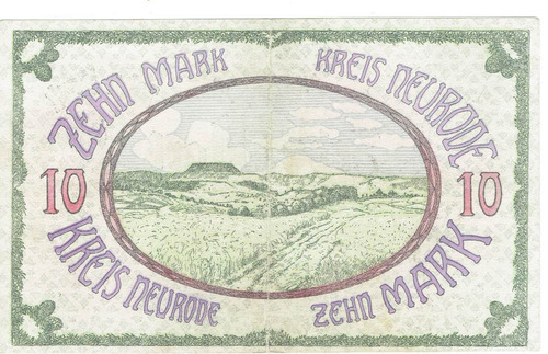 billete alemán de 10 marcos 1919.   jp