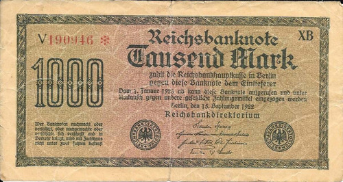 billete alemania 1000 marcos 1922