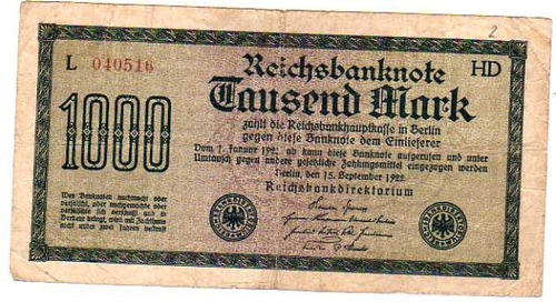 billete ** alemania **  1000 marcos - año 1922