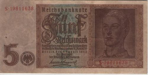 billete alemania 5 m 1942 3er reich  pick 186b muy raro  exc