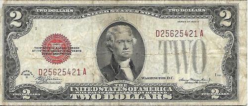 billete antiguo 2 dolares 1928 sello rojo b+ palermo