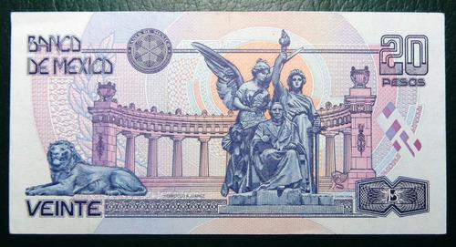 billete antiguo 20 pesos juarez de papel sin circular