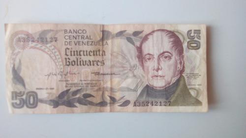 billete antiguo 50 bolivares enero 27/1981 serial a35242127