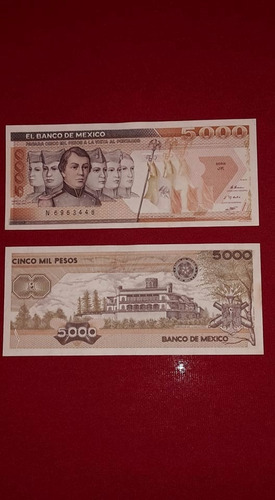 billete antiguo 5000 niños heroes (var. cafe)