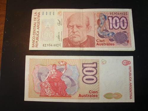 billete antiguo argentino de cien australes