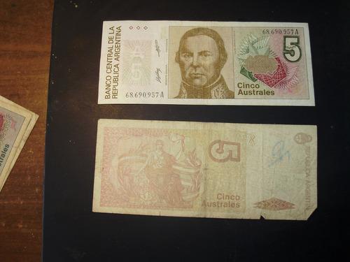 billete antiguo argentino de cinco australes