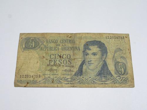 billete antiguo argentino de cinco pesos ley 18188