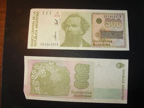 billete antiguo argentino de quinientos australes