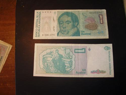billete antiguo argentino de un austral