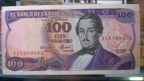 billete antiguo colombiano de 100 pesos oro morado 1977