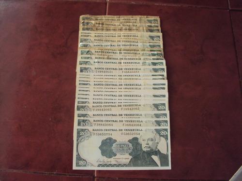 billete antiguo de 20 bolívares años -1989-1992-1995-1998