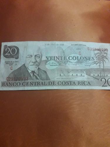 billete antiguo de 20 colones. años 80's