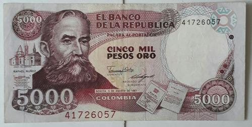 billete antiguo de $5000 hecho en italia, de 1987!!!