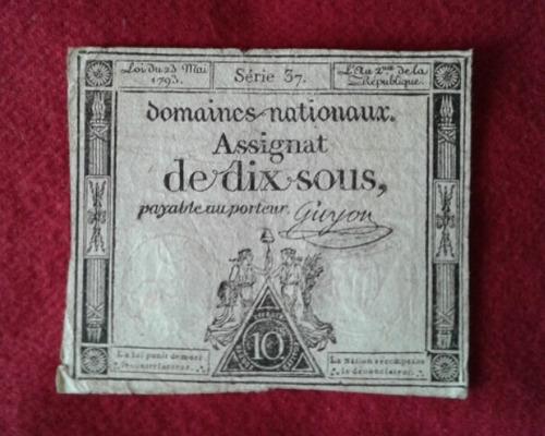 billete antiguo de la revolucion francesa