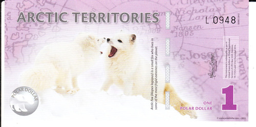billete arctic territories one polar dollar