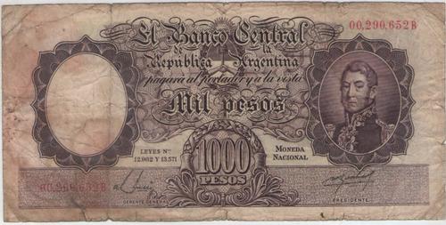 billete argentina $1000 b.1955 colo 528a  f