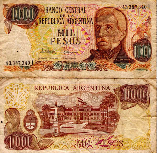 billete argentina 1000 pesos ley sin leyes marron regular