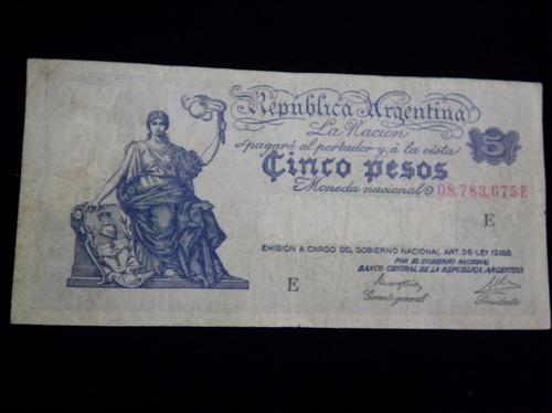 billete argentina 5 pesos n1 ley 12155 m/n imperdible
