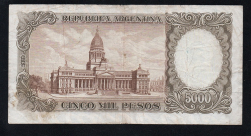billete argentina 5000 pesos moneda nacional bottero 2181