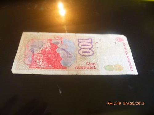 billete argentina cien australes  --