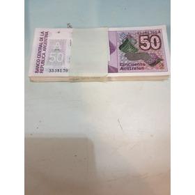Billete Argentino De 50 Australes Fajo De 100 Correlativos