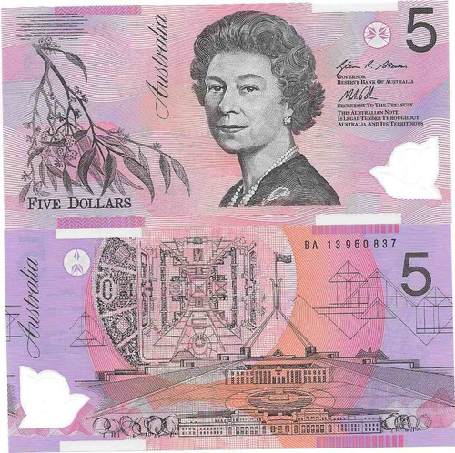 billete australia 5 dolares plastico año 2013 sin circular