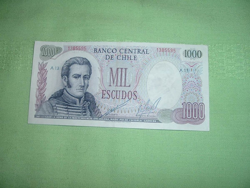 billete banco central de chile de mil escudos