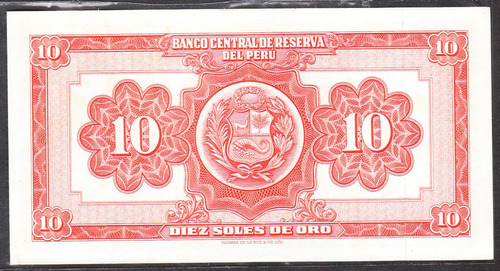 billete banco central de reserva del peru 10 soles de oro