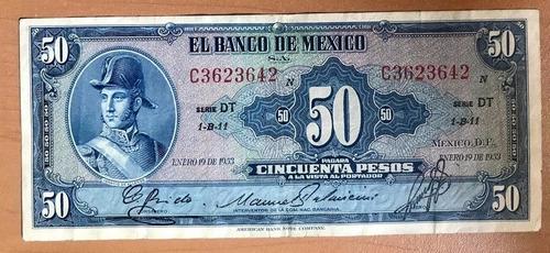 billete banco de méxico $50 pesos 1953 ignacio  allende