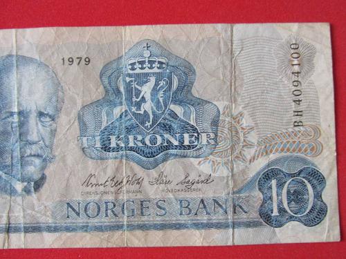 billete banco de noruega 10 koronas año 1979 escaso