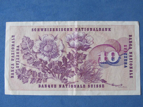 billete banco de suiza 10 francos año 1969 muy escaso